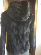 Genuine Real Piece Mink Fur Coat Jacket With a Hood Winter Women Fur Outerwear