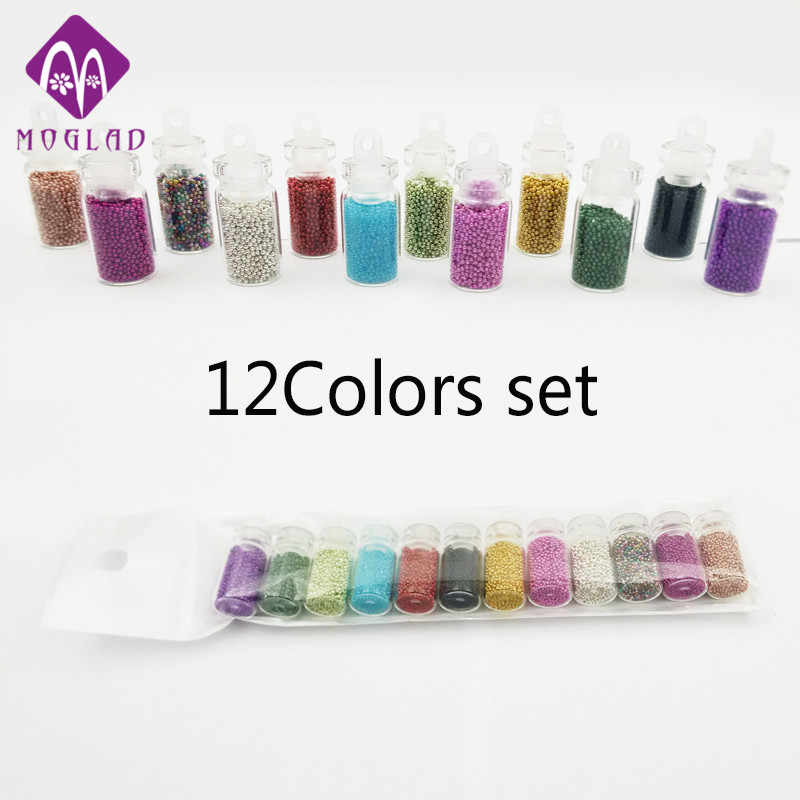New arrival 12 colors mini glass 1g bottle nail art mini beads decoration set
