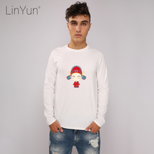 LINYUN Fashion China Bridegroom Men's Tshirts Long Sleeve Casual Cotton Male T-shirts Homme Animaux Top Tee Shirts Streetwear