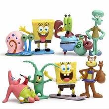 8pcs Cute Spongebobs Squarepants The octopus Cartoon Dolls model toy Statue Landscape Decoration collection gift