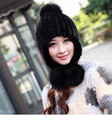 Multi- colored Women's Winter Fur Warm Hat Ear Fashion Sweet Real Knitted Mink Hat With Real Fox Fur Pom Poms MS-33