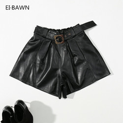 2019 Autumn Genuine Leather Shorts Women High Waist Loose Plus Size Casual Sexy Vintage Black Shorts Femme Belt Office Lady