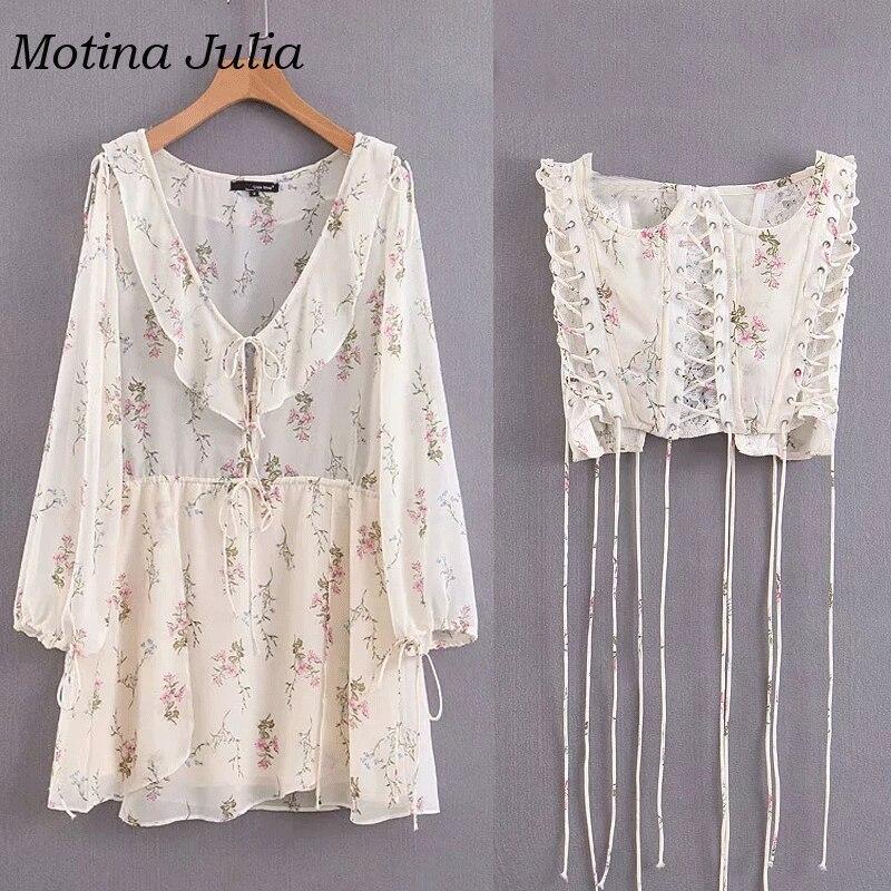 Motina Julia imprimé floral Cummerbunds robe à volants en mousseline de soie taille dentelle robe boho plage jour robe femme mini robe vestidos - 6