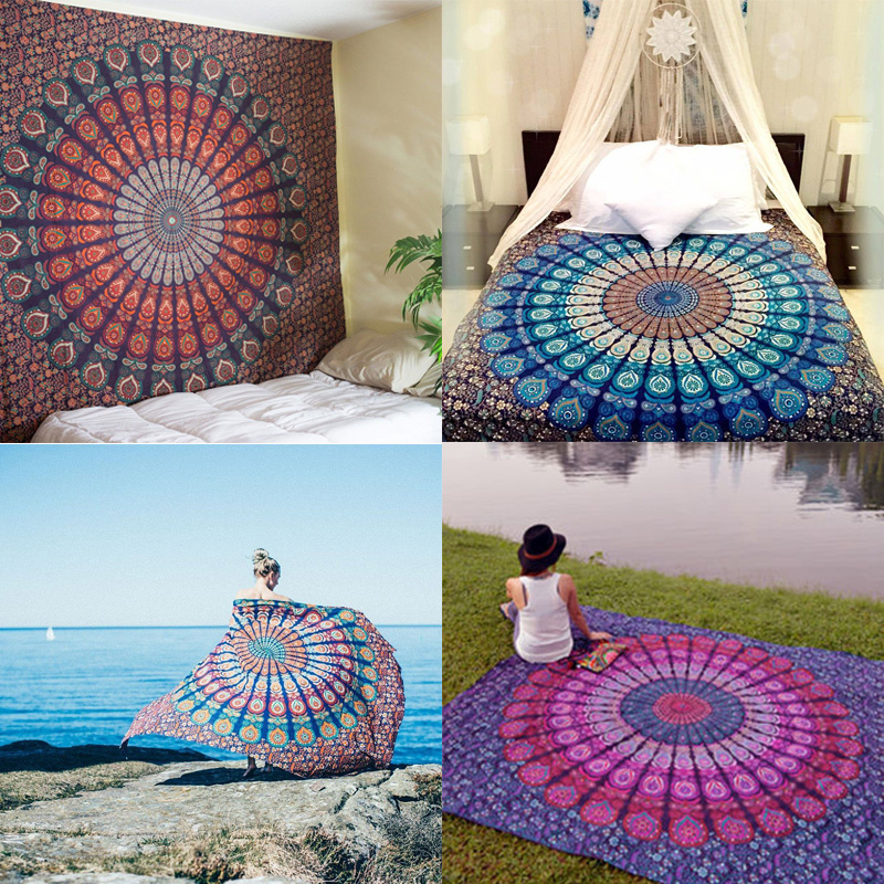 Hot New Indian Mandala Tapestry Hippie Home Decor Wall Hanging Boho Beach  Throw Towel Yoga Mat Bedspread Table Cloth 210 148CM. Decoration Pieces Handmade Reviews   Online Shopping Decoration