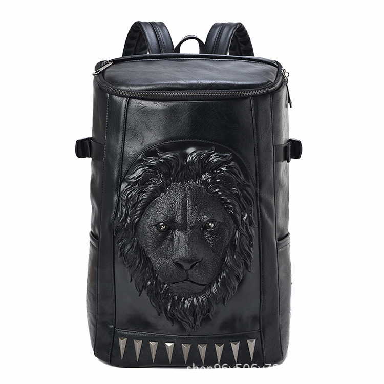 3d Embossed Lion Head Bucket Soft Backpack With Stunning Spikes Cool Leather Travel School Bagpack Punk Rock Concert Bags