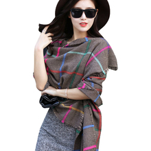 2016 New Fashion Plaid Thick Winter Shawls Women Tassels Hem Soft Blended Cashmere Scarves Classical British