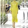 HIGH QUALITY New 2017 Spring Summer Designer Runway Dress Women's Flare Sleeve Yellow Lace Mermaid Dress