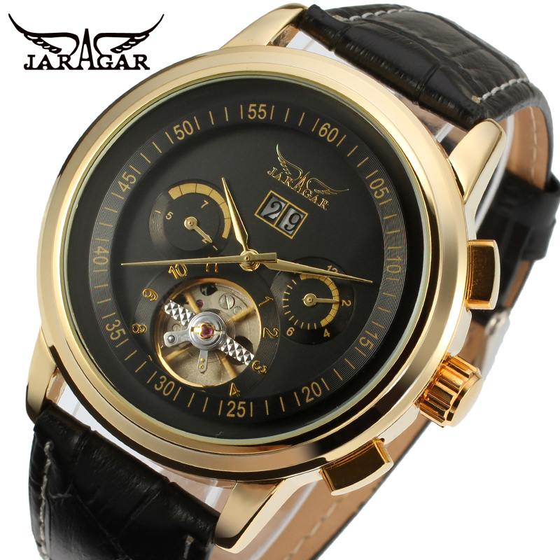 Jargar Automatic gold color men wristwatch tourbillon black leather strap new free shipping JAG16557M3G1 все цены