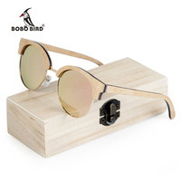 BOBO BIRD Wooden Ladies Sunglasses Women Polarized Sun Glasses UV400 in Wooden Box