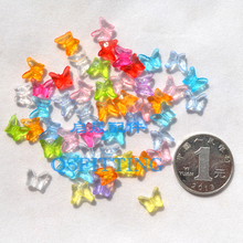 цена на DIY fashion jewelry Accessory,Transparent Acrylic Mini Beads,9*8MM Radiant Shape,Mix Color Butterfly