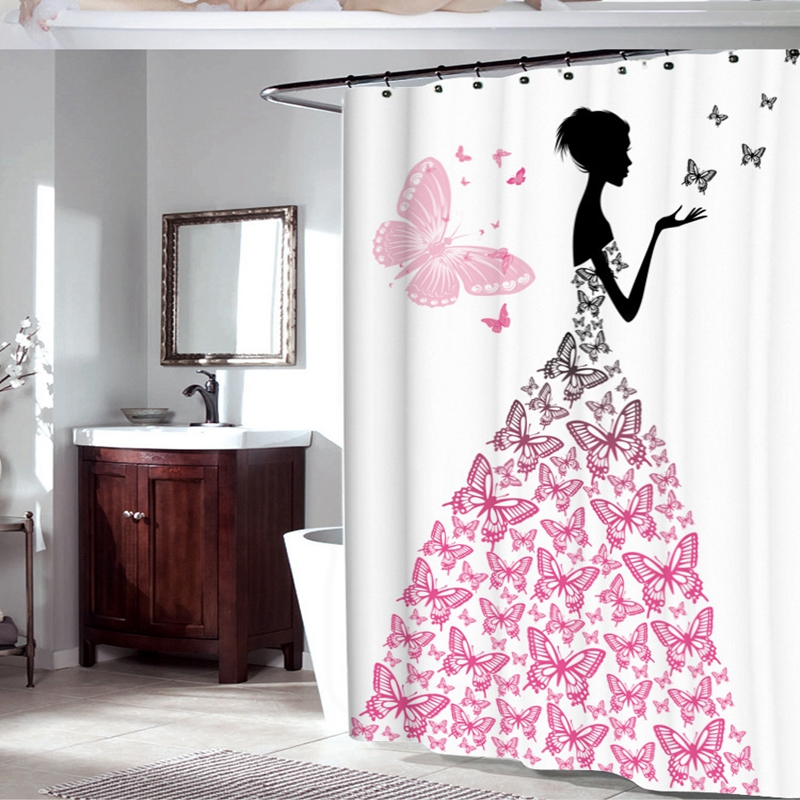 Fabric Polyester Pink Butterfly Girl With Floral Dress Flower Fairy Angel Wings Shower Curtain Black White Feminine Bath In Curtains From