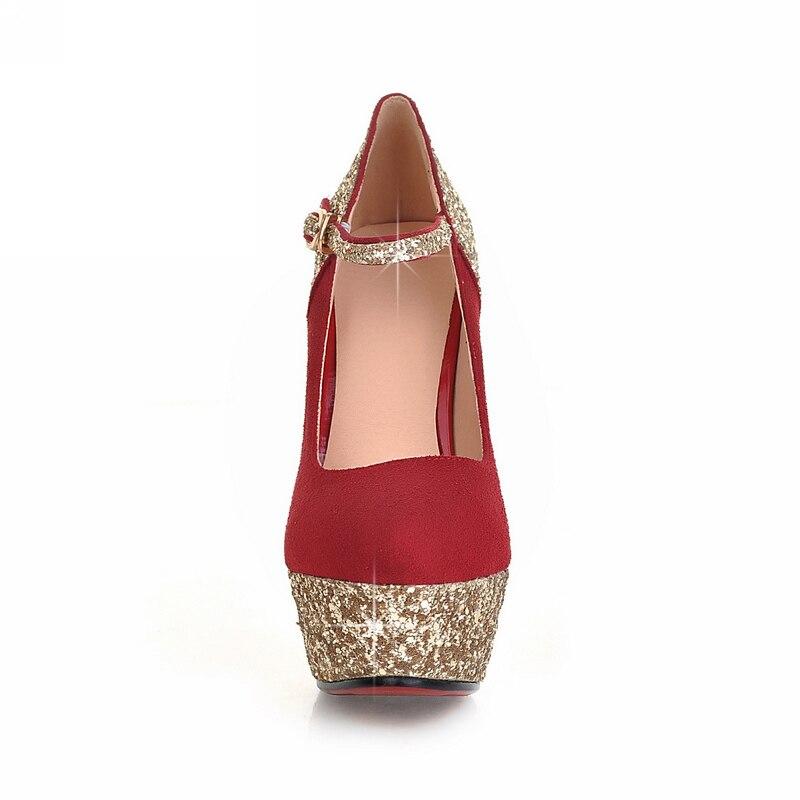 43 32 Chaussures Femme bleu Taille Mince De Noir Femmes Sexy Mariage Mariée Rouge Haute Princesse Karinluna Pompes Partie Style Talons rouge Printemps Grande HY1Enw5qxt