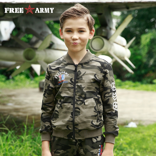Brand Fashion Boys Baseball Jackets Knitting Coats For Kids Autumn Military Camo Jacket For Teenager Hoodie Children's Clothing