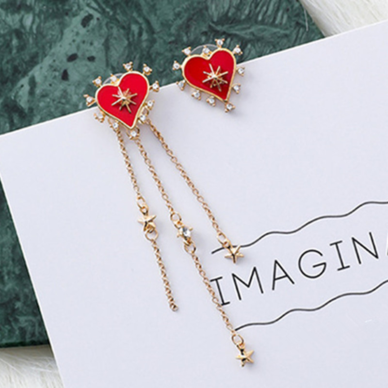 New Asymmetric Korean Star Love Heart Long Tassel Drop Dangle Earrings for Women Luxury Crystal Earring Fashion Jewelry 6C3018