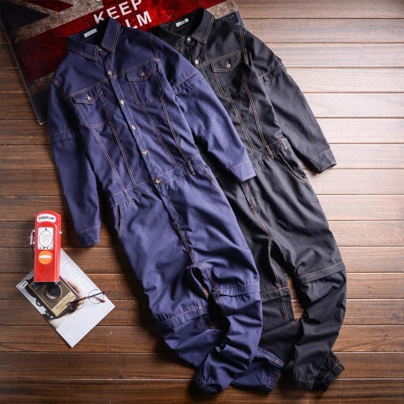 Men full sleeve detachable denim overalls Pockets cargo long jeans Black Blue Jumpsuits Male Tooling loose Work Wear Pants 06080