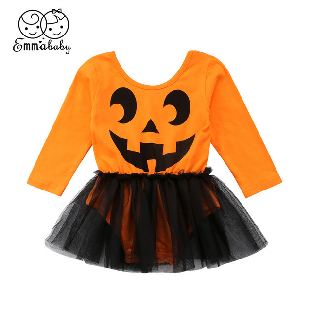 1cea3acbc Halloween Newborn Baby Girls Clothes Long Sleeve O-neck Pumpkin Romper Tutu  Skirt Halloween Outfit Sets Baby Clothes 2018 NEW
