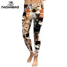 NADANBAO 2019 여성 레깅스 러블리 고양이 Hologrephic 디지털 프린트 피트 니스 레깅스 하이 웨이스트 운동 바지 캐주얼 스트리트 레깅스