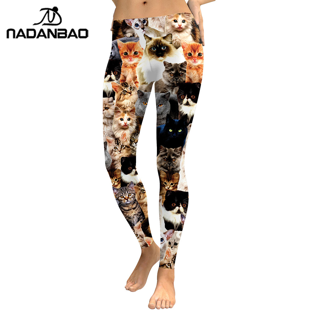NADANBAO 2019 Women Leggings Lovely Cat Hologrephic Digital Print Fitness legging High Waist Workout Pants Casual Street Leggins