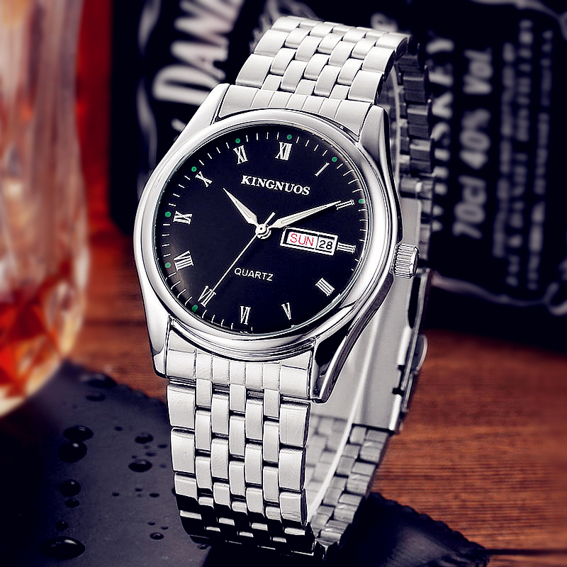 Men's Quartz Watch Top Brand Luxury Famous Stainless Steel Wrist Watches English Calendar Clock Silver Male Roman Time For Men