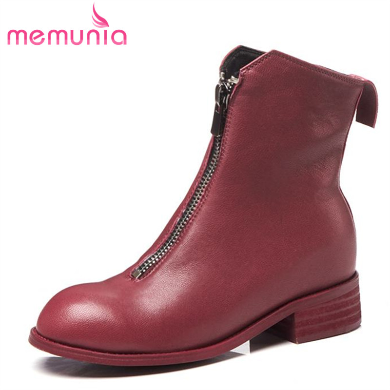 MEMUNIA 2018 new arrival genuine leather ankle boots for women round toe autumn winter boots fashion med heels shoes woman 2018 new arrival genuine leather zipper runway autumn winter boots round toe high heels keep warm elegant women ankle boots l29