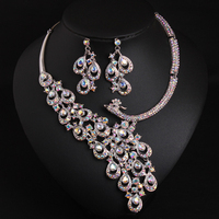 MYDANER Fashion Luxury Bridal Jewelry Sets AAA Glass Wedding Necklace Earring for Women Brides Party Prom Costume Accessories