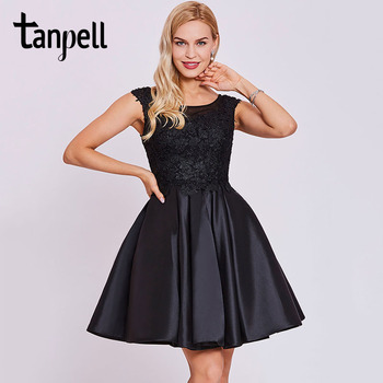 Tanpell short homecoming dress black scoop cap sleeves above knee a line gown cheap appliques lace graduation homecoming dresses фото