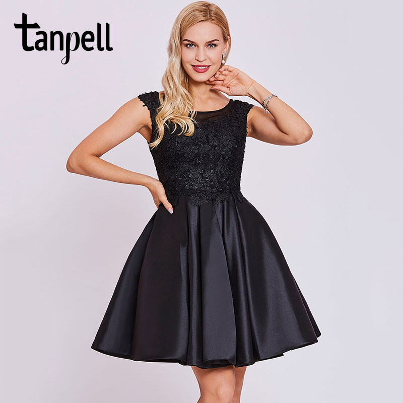 Tanpell short homecoming dress black scoop cap sleeves above knee a line gown cheap appliques lace graduation homecoming dresses
