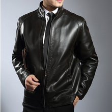 2016 Casual Black Leather Jacket Men Plus size Men's Stand collar Leather Jacket Leisure Coat Men's Winter Leather Jacket