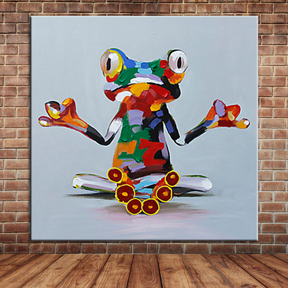 Funny reading frog oil painting canvas art modern wall for Canvas mural painting