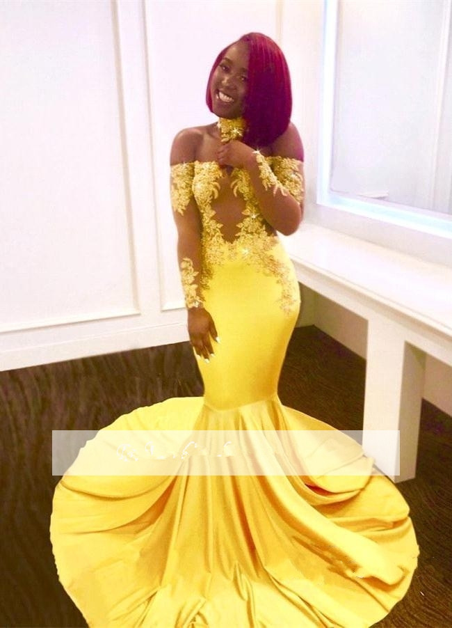 Yellow 2019   Prom     Dresses   Mermaid Long Sleeves Appliques See Through Party Maxys Long   Prom   Gown Evening   Dresses   Robe De Soiree