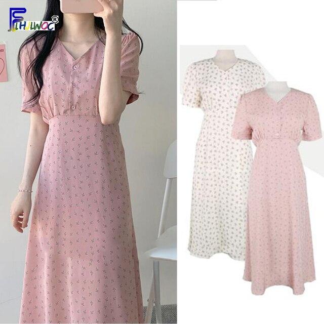 קיץ שיפון שמלות אישה פרחוני חג תאריך חמוד קוריאני יפן סגנון בגדי עיצוב קו קשת עניבת חולצה שמלת ארוך ורוד 603