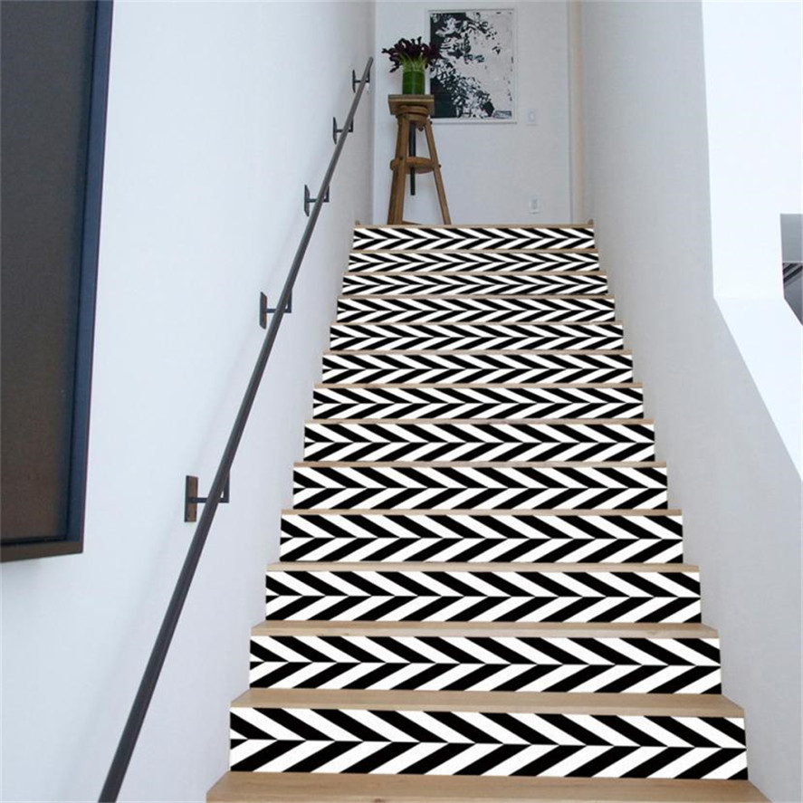 New Stairs Sticker 6Pc Black White Staircase Stair Riser