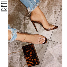 Liren 2019 Summer PVC Transparent Leopard Ladies Slippers Sexy Party High Heels Women Gladiator Slides Shoes