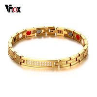 VNOX Women Health Bracelet Bangle Gold Color CZ Stones Magnetic Power Bracelets Chain Jewelry 8 Inch