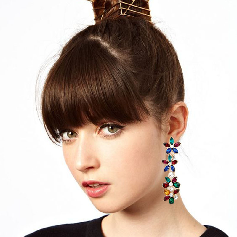 2018 new charming full crystal flower earrings floral drop earrings jewelry earrings for women brand jewelry long earirngs