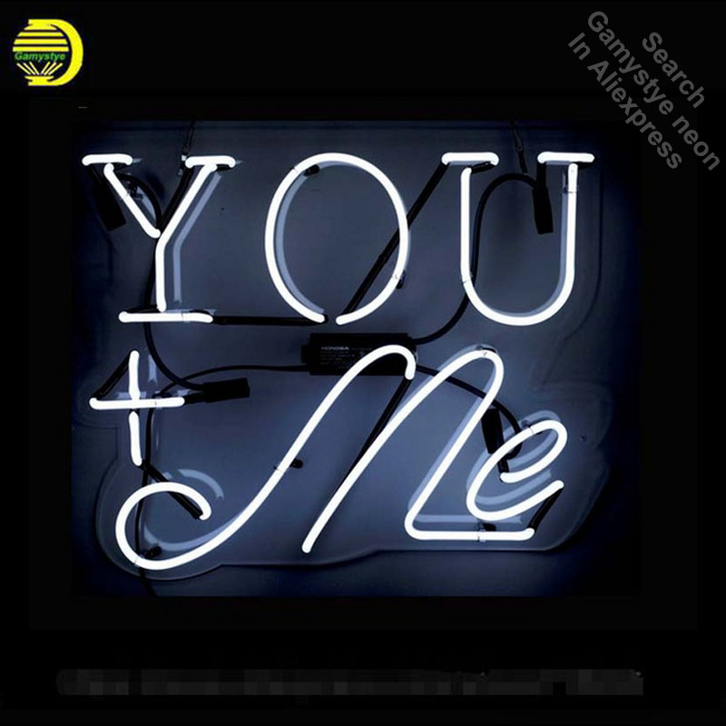 YOU+ME Neon Sign With Acrylic Neon Bulb Handcrafted Glass Tube Sign Affiche Light Recreation Room Window Wall Great Gifts 17x14 wild at heart neon sign advertise custom logo neon bulb beer glass tube handcrafted neon glass tubes recreation room lamps 17x14