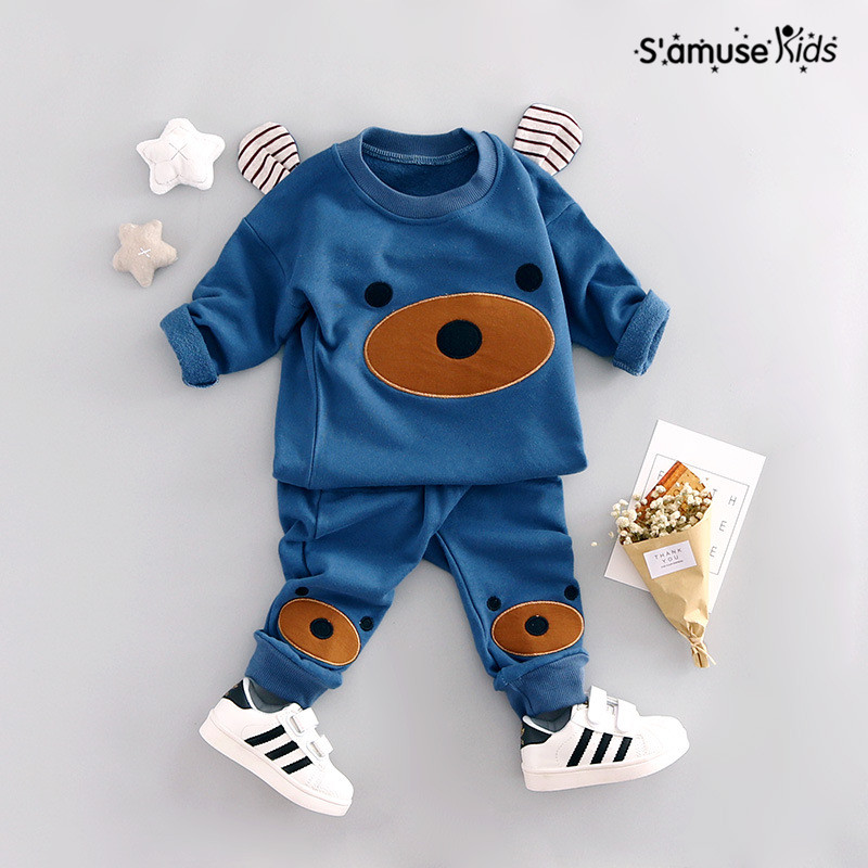New spring Baby Boys Clothes Cartoon Cute Bear Knitted Ear Sweatshirt Pants Suit Kids Clothes Set