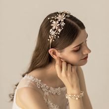 SLBRIDAL  Gold Crystals Rhinestones Pearls Flower Leaf Wedding Tiara Headband Bridal Pageant Crown Hair accessories Bridesmaids