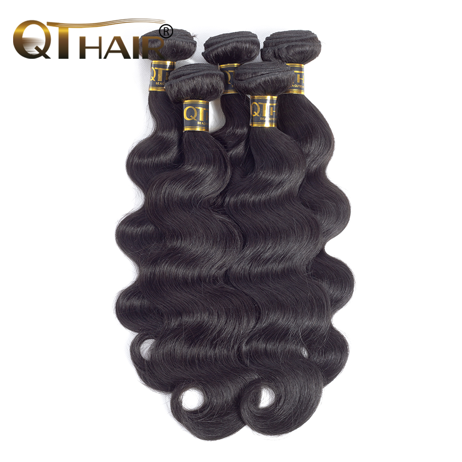 QT Hair Products Body Wave Malaysia Hair Weave Bundles 4pc/lot Human Hair Bundles Non-Remy Hair Extensions