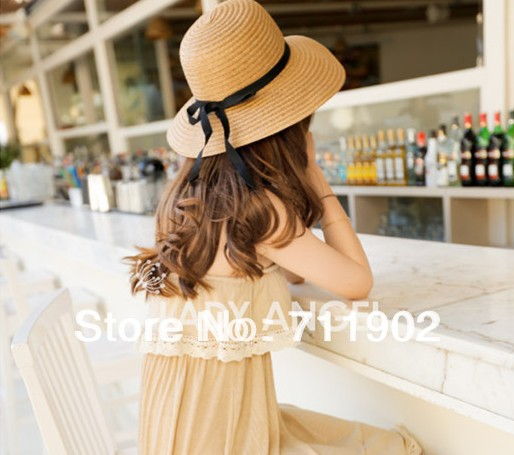 10pcs free shipping/Beach sunshade bow cap / innovation natural environment-friendly papyrus production / Ladies hats wholesale