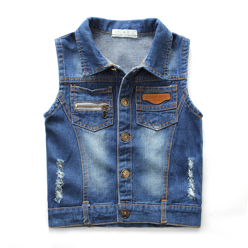 3786d9e6838 Children Cowboy Catamite Spring And Autumn boys Vest kids Baby All-match  Soft Tide Single Breasted Routine colete masculino
