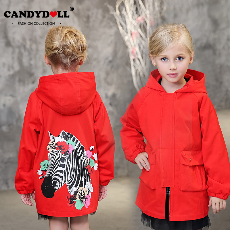 2017 Europe and the United States fashion color hooded long section of the windbreaker spring new cotton jacket girl red jacket купить дешево онлайн