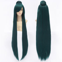 100cm Long Dark Green Sailor Moon Sailor Pluto Meiou Setsuna Cosplay Wig With Detachable Bun Synthetic Hair Wigs + Wig Cap