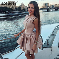 17276b8cf8 O Neck Tank A Line Satin Pleat Short Homecoming Party Dress Evening Dress  Prom Special Occasion