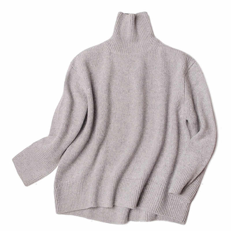 1c588143f 100%goat cashmere add thick knit women fashion irregular hem turtleneck  pullover sweater light apricote 2color one&over size