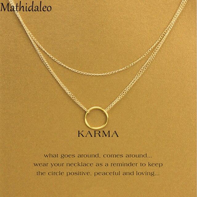 268065fb8992 HotSale Karma cadena collar de capas de oro Color18 pulgadas collar de las  mujeres joyería de