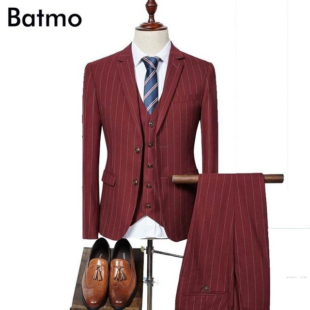 2017 chegada nova alta qualidade moda Único Breasted ternos dos homens, terno dos homens listrado vermelho, tamanho S-XXXL, jaqueta + calça + colete