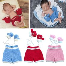 0-3month Baby Crochet Photography Props Shoot Newborn Photo Cool Boy Costumes Infant Pants Clothing Set newborn photography props baby photo props crochet knitting baby bunny hat rabbit hats and diaper beanies and pants costumes set
