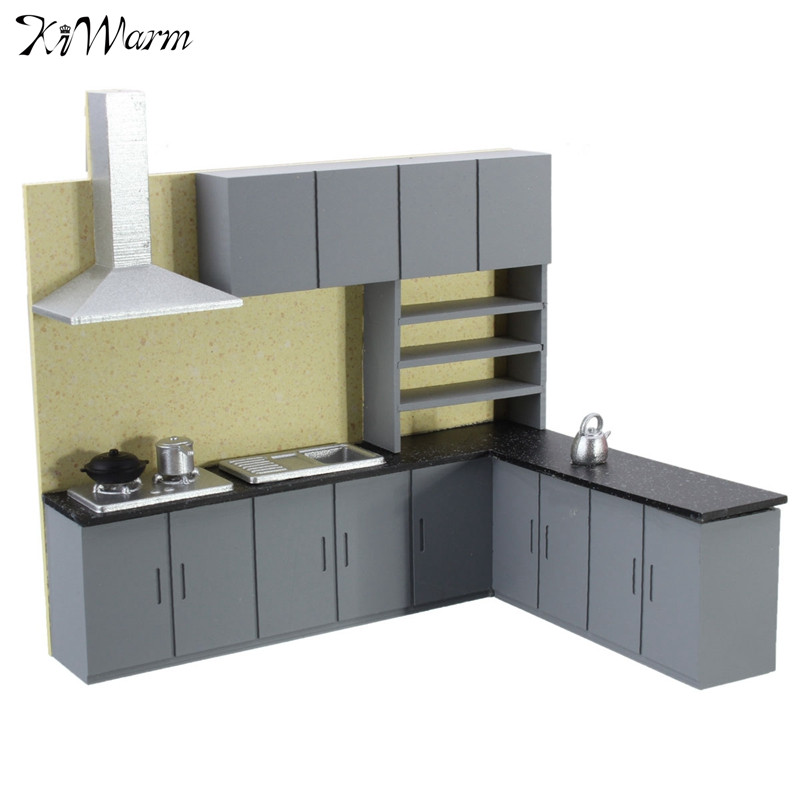 kiwarm modern 1:25 dollhouse miniature furniture kitchen cabinet set