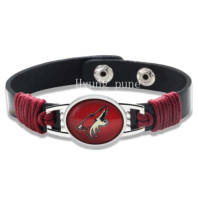 6pcs/lot! Phoenix Coyotes Genuine Leather Adjustable Bracelet Wristband Cuff 12mm Black Leather Snap Button Charm Jewelry